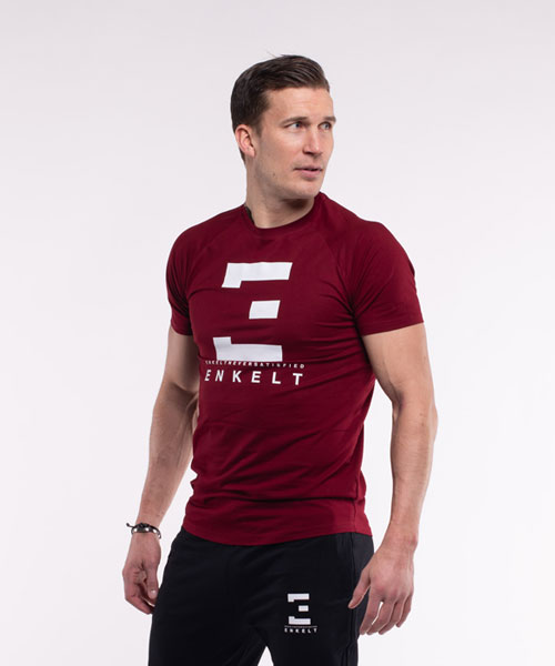 T-Shirt Winered/White SlimFit